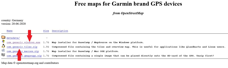 Downloadlink für die Open Street Map auswählen