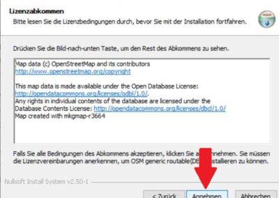 OSM Karte auf Windows installieren Lizenzbestimmungen annehmen
