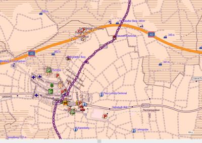 OSM Kartenausschnitt mit hohem Detailierungsgrad